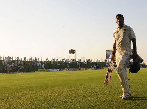 کمار سنگاکارا نے دو روز تک پاکستانی بلے بازوں کا جم کر مقابلہ کیا اور میچ بچا لیا (تصویر: AFP)