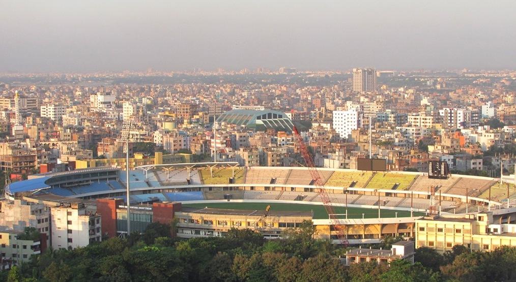 شیر بنگلہ نیشنل کرکٹ اسٹیڈیم کا ایک طائرانہ منظر (تصویر: Wikipedia)