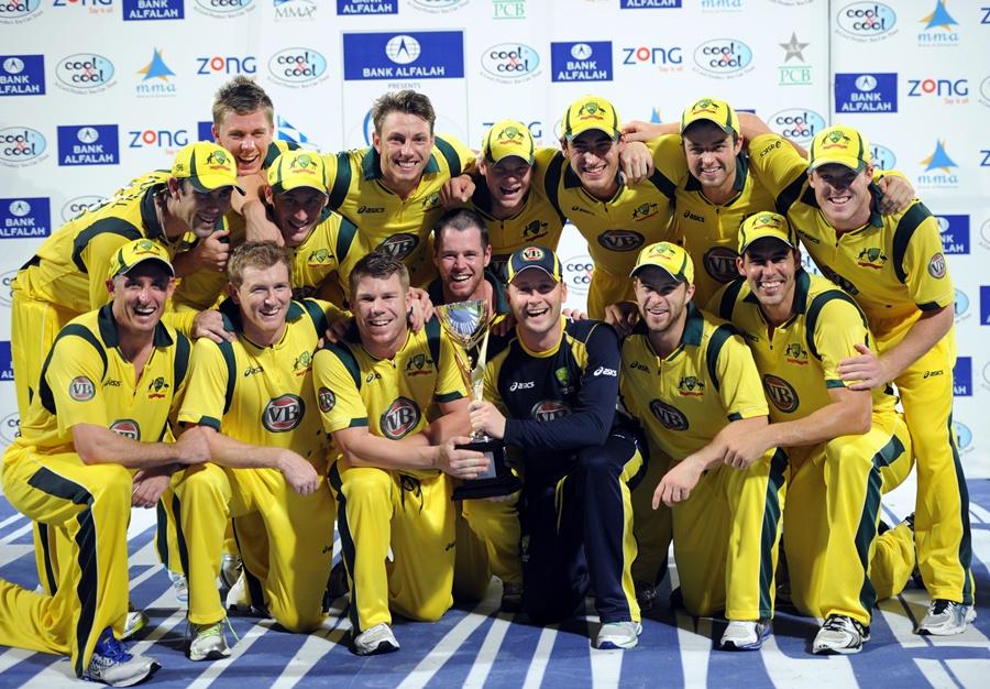 آسٹریلیا کا 10 سال سے پاکستان کے خلاف سیریز نہ ہارنے کا ریکارڈ برقرار رہا (تصویر: AFP)