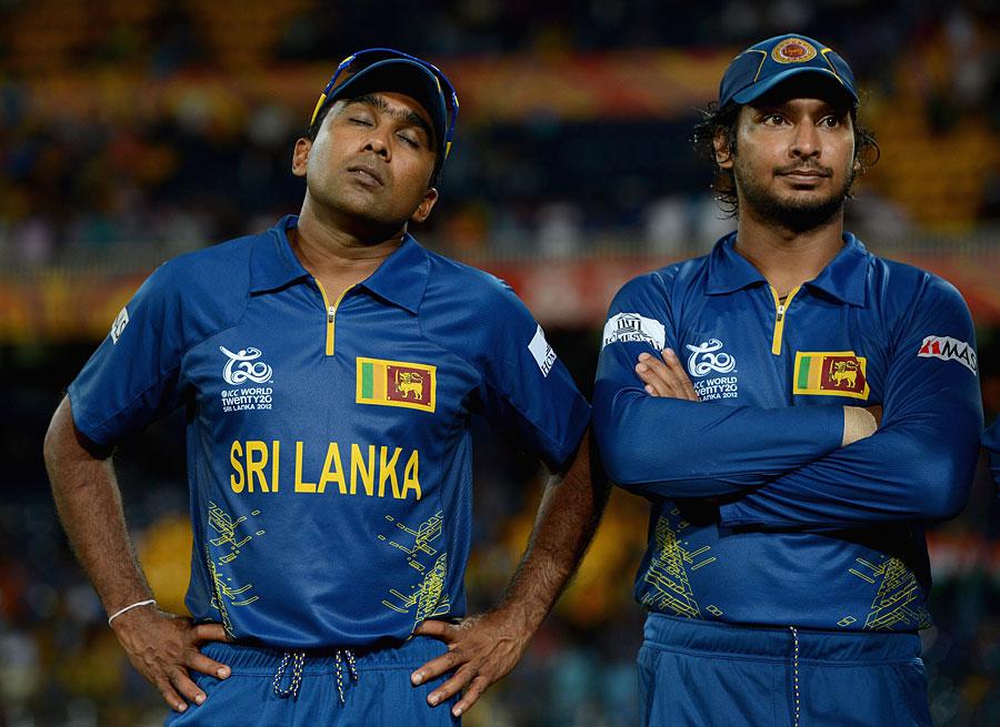 گزشتہ پانچ سالوں میں سری لنکا کو چوتھی بار کسی عالمی ٹورنامنٹ کے فائنل میں شکست ہوئی، اور بدقسمتی سے یہ دونوں کھلاڑی ان تمام میچز میں شامل رہے (تصویر: Getty Images)