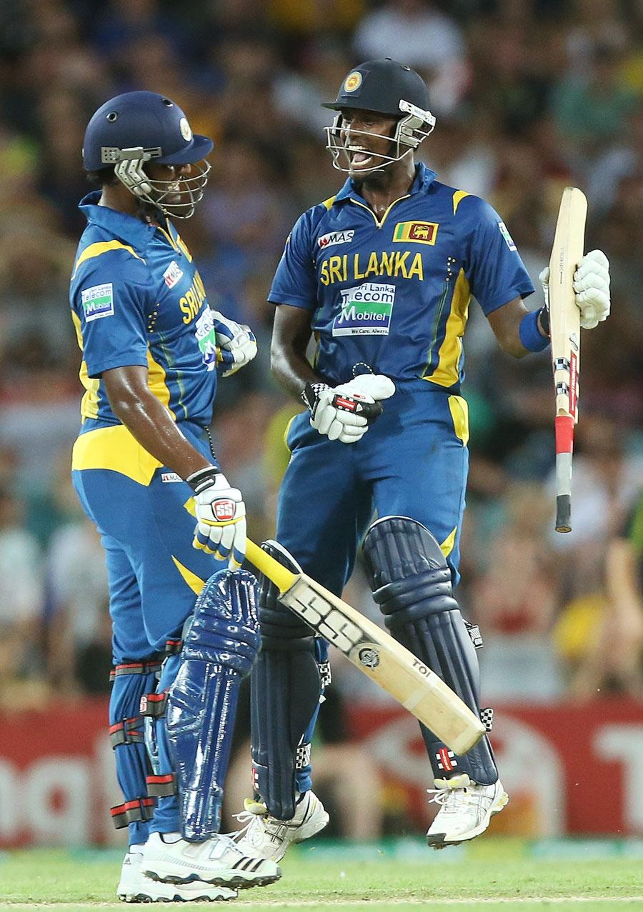 اینجلو میتھیوز اور تھیسارا پیریرا نے سری لنکا کو بحفاظت منزل تک پہنچایا (تصویر: Getty Images)