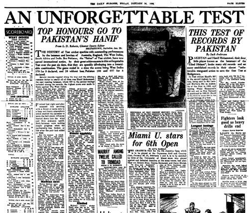 ویسٹ انڈیز کا ایک اخبار حنیف محمد کی تاریخی اننگز کی داستان بیان کرتے ہوئے (تصویر: ESPNCricinfo Ltd)