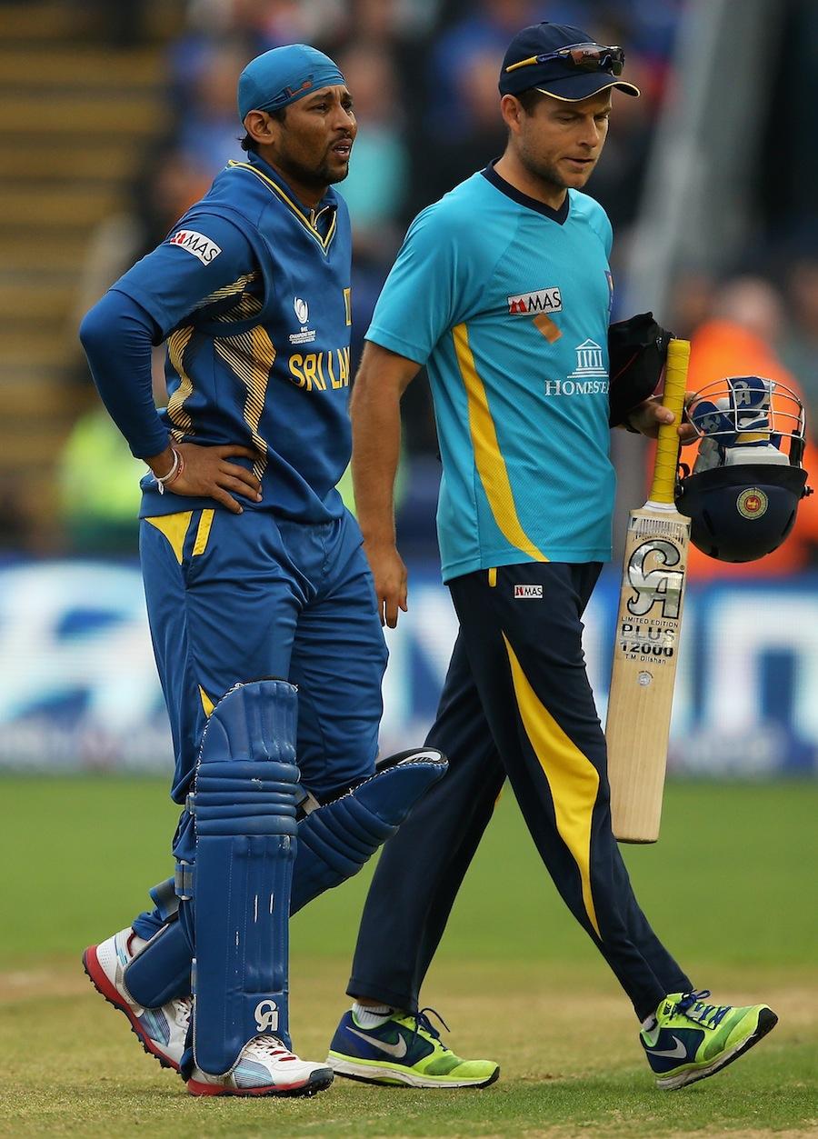 دلشان پنڈلی کی انجری کے باعث چھ ہفتے کے لیے کرکٹ سے باہر ہو چکے ہیں (تصویر: ICC)