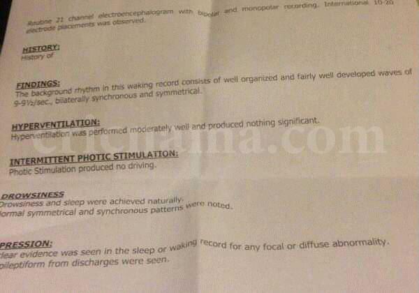 عمر اکمل کی ابتدائی میڈیکل رپورٹ کا عکس