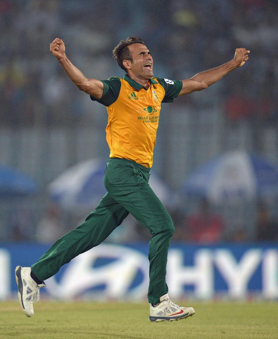 عمران طاہر نے اپنی سالگرہ کے دن جنوبی افریقہ کو فتح دلائی اور میچ کے بہترین کھلاڑی قرار پائے (تصویر: Getty Images)