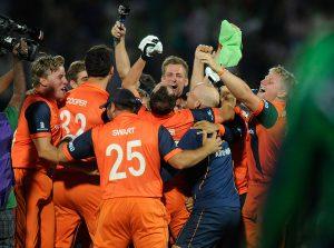 نیدرلینڈز نے آئرلینڈ کو ناقابل یقین شکست دے کر تاریخ رقم کی اور سپر 10 میں جگہ پائی (تصویر: ICC)