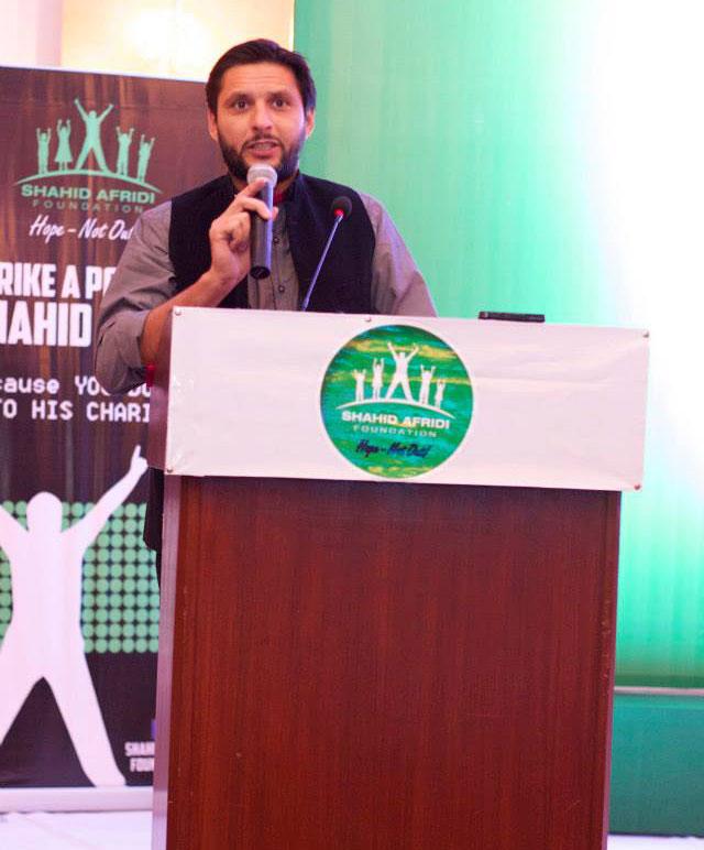 شاہد آفریدی نے اپنی زندگی کے تجربات اور مشاہدات مداحوں کے ساتھ شیئر کیے (تصویر TiEKarachi)