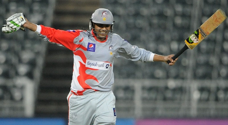 JOHANNESBURG, SOUTH AFRICA - OCTOBER 11, Haris Sohail celebrate the win during the Karbonn Smart CLT20 pre-tournament Qualifying Stage match between Hampshire (England) and Sialkot Stallions (Pakistan) at Bidvest Wanderers Stadium on October 11, 2012 in Johannesburg, South Africa Photo by Lee Warren / Gallo Images