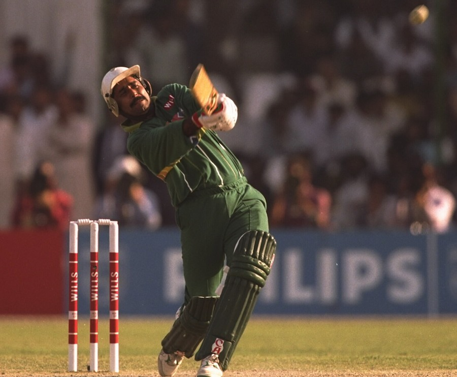 29 Feb 1996:  Javed Miandad of Pakistan at bat in the game against England during the cricket world cup match in Karachi, Pakistan.