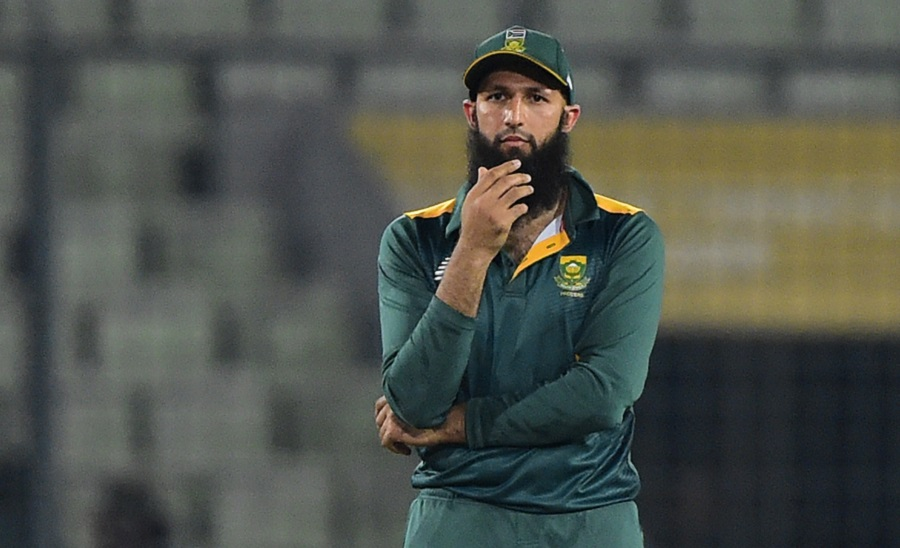 South African captain Hashim Amla reacts during the second One Day International match between Bangladesh and South Africa at the Sher-e-Bangla National Cricket Stadium in Dhaka on July 12, 2015. AFP PHOTO/ Munir uz ZAMAN        (Photo credit should read MUNIR UZ ZAMAN/AFP/Getty Images)