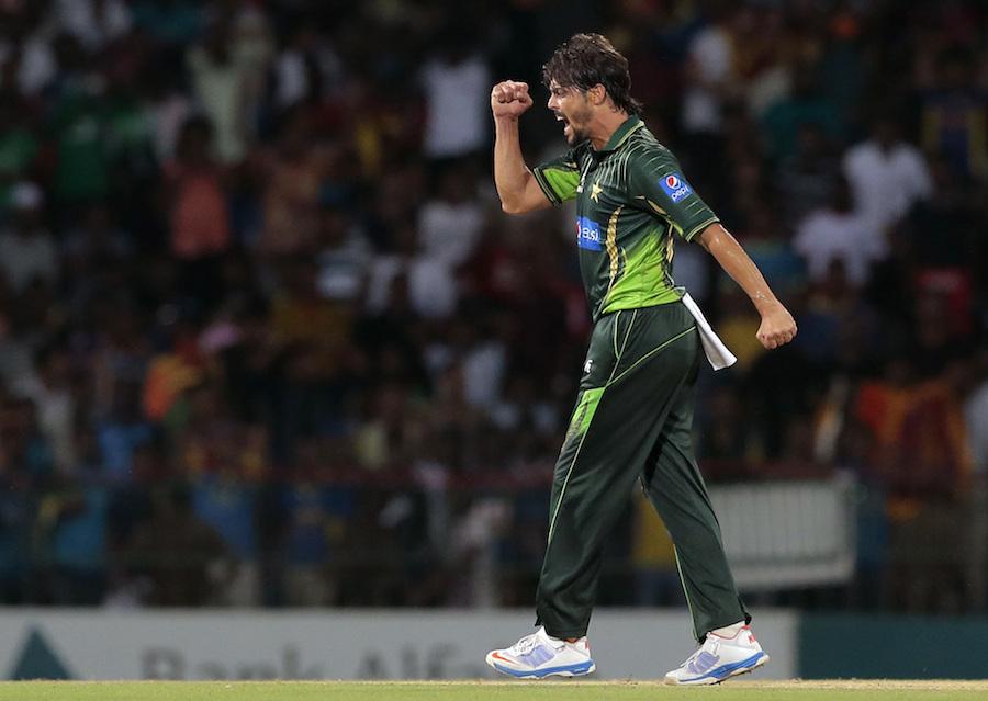 Pakistan's Anwar Ali celebrates the dismissal of Sri Lanka's Tillakaratne Dilshan during the second Twenty20 cricket match between them in Colombo, Sri Lanka, Saturday, Aug. 1, 2015. (AP Photo/Eranga Jayawardena)