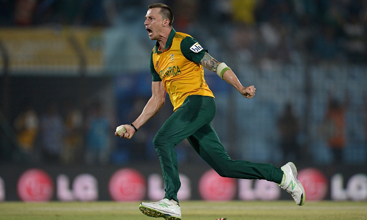 Dale Steyn celebrates after sealing South Africa's World Twenty20 win against New Zealand